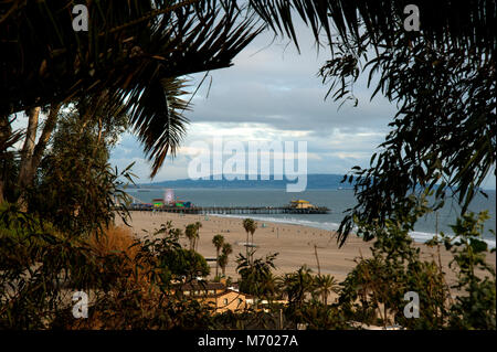 A scenic view of the Santa Monica Pier from Palisades Park on the cliffs overlooking the Pacific Ocean at Los Angeles, - Stock Photo
