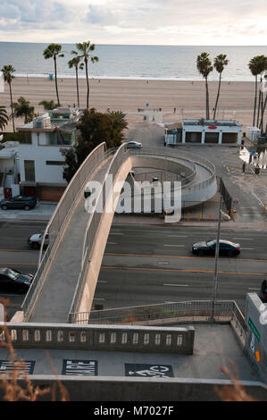 Pedestrian overpass over Pacific Coast Highway to the beach at Santa Monica, CA - Stock Photo