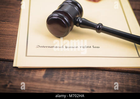 Law and Justice, Legality concept, Notary seal, Judge Gavel , International human rights law concept. - Stock Photo