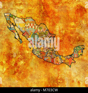 states of Mexico on map with administrative divisions and borders