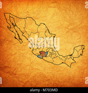 emblem of Michoacan state on map with administrative divisions and