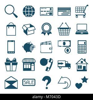 Internet shopping icon set in flat design style - Stock Photo
