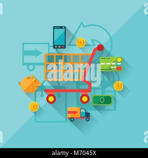 Illustration concept of internet shopping in flat design style - Stock Photo