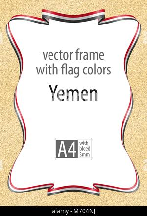 Frame and border of ribbon with the colors of the Yemen flag, template elements for your certificate and diploma. - Stock Photo