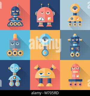 Set of robots in flat style - Stock Photo
