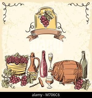 Wine vintage hand drawn illustration - Stock Photo