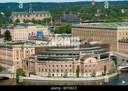 View of Stockholm with Parliament Palace (Riksdag), Royal Palace (on the right), Nationalmuseum, Nordic Museum and - Stock Photo