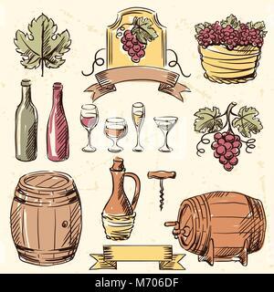 Wine vintage hand drawn set - Stock Photo