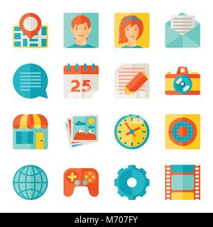 Icons web and mobile applications in flat design style - Stock Photo