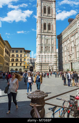 People who walking on Piazza del Duomo in Florence - Stock Photo