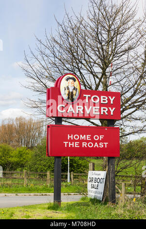 Toby Carvery sign at the entrance to 'The Watergate', a pub restaurant on the junction of Watergate Lane and the - Stock Photo