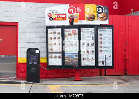 The menu for drive through customers at McDonald's fast food restaurant in Whitestone, Queens, New York - Stock Photo