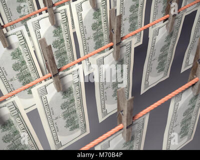 3D render of one hundred dollar banknotes hanging on laundry line attached with wooden clothes pegs shot from above - Stock Photo