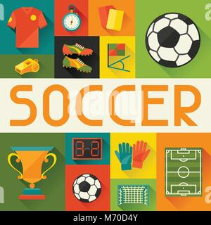 Sports background with soccer (football) flat icons - Stock Photo