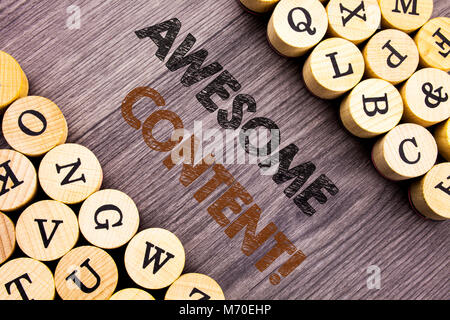 Conceptual hand writing text showing Awesome Content. Concept meaning Creative Strategy Education Website Concept - Stock Photo