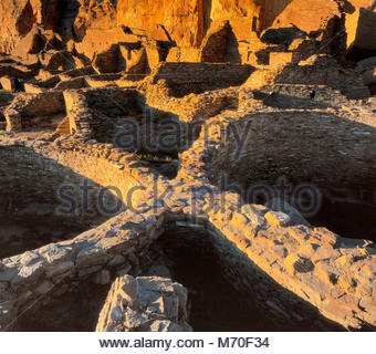 Ruins, Pueblo Bonita, Chaco Culture National Historical Park, NM - Stock Photo