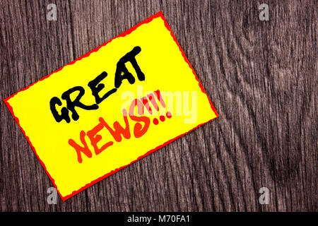 Conceptual hand writing text showing Great News. Concept meaning Success Newspaper Information Celebration written - Stock Photo
