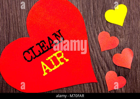 Handwriting Announcement text showing Clean Air. Concept meaning Global Environmental Health For Industry Pollution - Stock Photo