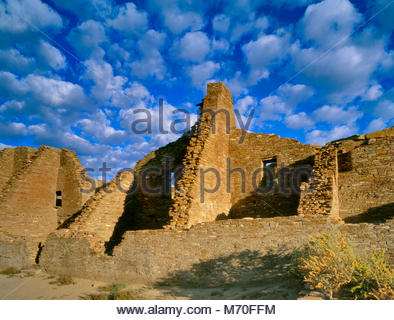 Ruins, Pueblo Bonito, Chaco Culture National Historical Park, New Mexico - Stock Photo