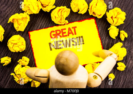 Writing text showing  Great News. Business photo showcasing Success Newspaper Information Celebration written Sticky - Stock Photo
