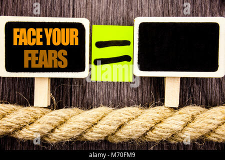Ttext showing Face Your Fears. Business concept for Challenge Fear Fourage Confidence Brave Bravery written Blackboard - Stock Photo