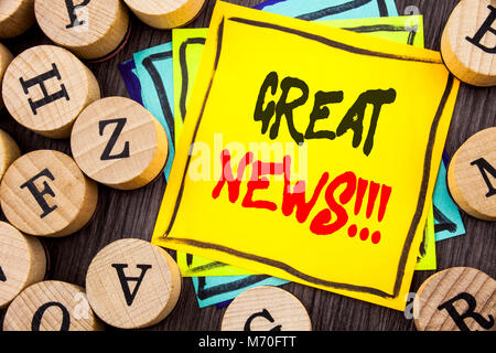 Handwriting Announcement text showing Great News. Business photo showcasing Success Newspaper Information Celebration - Stock Photo