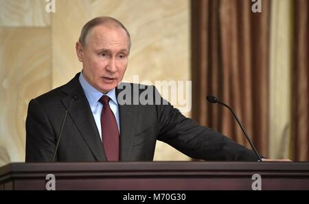 Russian President Vladimir Putin addresses an expanded meeting of the Federal Security Service Board March 5, 2018 - Stock Photo