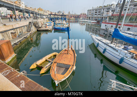 GENOA (Genova), ITALY, APRIL 12, 2017 - Leudo boat in the port of Genoa, a latin sailboat used for cabotage until - Stock Photo
