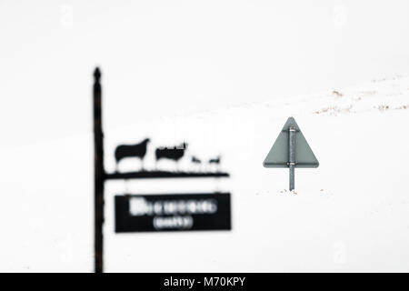 Deep snow causes drifting on a country road in the Kale Valley near Hownam. - Stock Photo