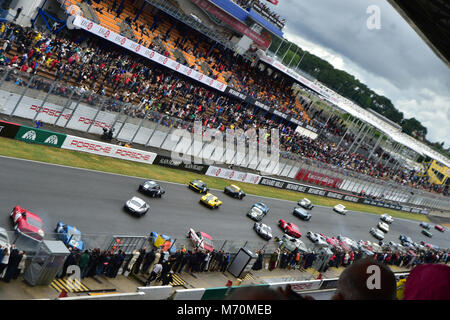 Traditional Le Mans start, Le Mans Classic 2014, 2014, circuit racing, Classic, classic cars, Classic Racing Cars, - Stock Photo