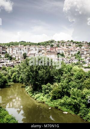 View of the city of Veliko Tarnovo and the Yantra River in Bulgaria Stock Photo