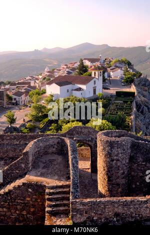 View from the castle of Marvão hilltop village, Marvão, Alentejo, Portugal - Stock Photo