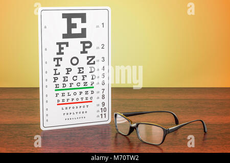 Eye Chart and Glasses on the wooden table. 3D rendering - Stock Photo