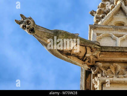 Paris - The gargoyles on the south side wall of the Saint Chapelle - Stock Photo