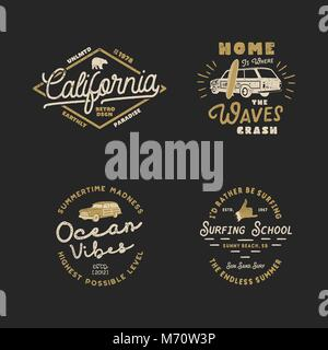 Vntage Hand Drawn Surfing Graphics and Emblems for web design or print. Surfer logotypes. Surf Logo. Summer surf - Stock Photo