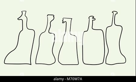 Vector outline bottles in abstract art style - Stock Photo