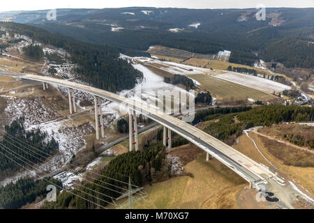 Expansion of motorway A46 valley bridge Nuttlar, highest bridge in North Rhine-Westphalia in Bestwig. Bestwig, Sauerland, - Stock Photo