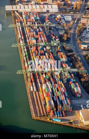 Port of Dortmund, inland port on the Dortmund-Ems Canal, with container terminal on the Mallinckrodtstraße, in Dortmund - Stock Photo
