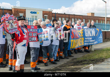 Birmingham, UK. 7th March 2018. Protest against proposed takeover of British automotive company GKN by Melrose International - Stock Photo