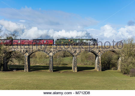 Capernwray, Lancashire, UK, 7th March 2018, the steam locomotive Bulleid 'Merchant Navy' Pacific No. 35018, British - Stock Photo