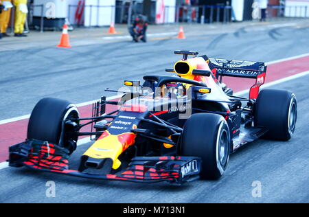 Barcelona, Spain. 7th March, 2018. Daniel Ricciardo,  Red Bull Racing RB14  during day two of the  second test in - Stock Photo