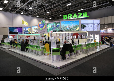 Berlin, Germany. 7th Mar, 2018. Brazil's booth is seen during ITB Berlin in Berlin, capital of Germany, on March - Stock Photo