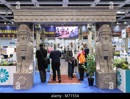 Berlin, Germany. 7th Mar, 2018. Iran's booth is seen during ITB Berlin in Berlin, capital of Germany, on March 7, - Stock Photo