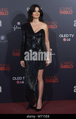 Madrid, Madrid, Spain. 7th Mar, 2018. Penelope Cruz attends 'Loving Pablo' Premiere at Callao Cinema on March 7, - Stock Photo