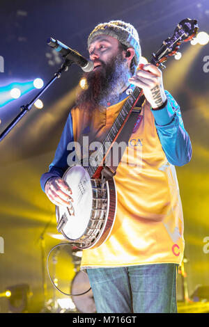 Madison, Wisconsin, USA. 6th Mar, 2018. NATE ZUERCHER of Judah and the Lion during the Going to Mars tour at the - Stock Photo