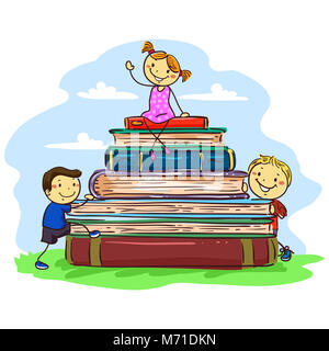 Vector Illustration of Three Stick Kids sitting on Pile of Books - Stock Photo