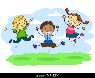 Vector Illustration of Three Stick Kids Jumping together in the Field - Stock Photo