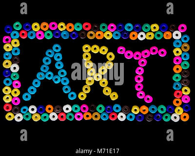 art print created with beads on black background - Stock Photo