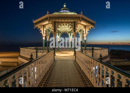 Brighton Bandstand at night - Stock Photo