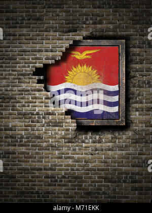 3d rendering of a Kiribati flag over a rusty metallic plate embedded on an old brick wall - Stock Photo